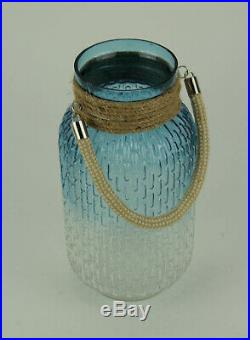 Gradient Blue Glass Candle Lantern Jar with Jute Rope Handle 10 inch