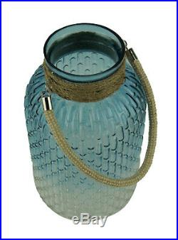 Gradient Blue Glass Candle Lantern Jar with Jute Rope Handle 13 inch