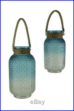 Gradient Blue Glass Candle Lantern Jars with Jute Rope Handle Set of 2