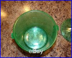 Green Depression Glass Macaroon Cookie Jar Ice Bucket withLid & Wicker Handle
