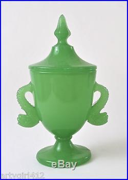 Green Lidded Fenton Jadeite Jar / Dolphin Handles / ca 1927