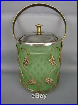Green Satin Glass Lidded Biscuit Jar in Gold-wash Metal Holder with Handle 5524