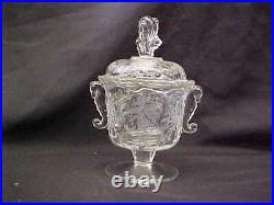 HEISEY ORCHID ETCHED #1507 DOUBLE HANDLE SEAHORSE CANDY JAR w COVER 8 TALL SIGN