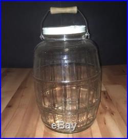 HTF LARGE VTG 1959 Vintage Illinois Glass Barrel Pickle Jar Wood Bail Handle MID