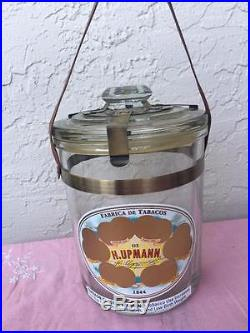 H. Upmann Glass Jar Humidor With Leather Handle