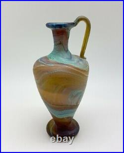 Hand-blown colorful Phoenician recycled glass jar with handle
