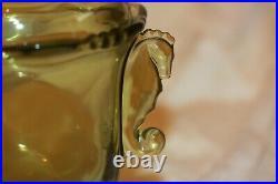 Heisey Waverly Seahorse Handled Candy Jar Green Vintage