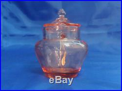 Heisey Yeoman Pink Flamingo HANDLED MUSTARD JAR & LID Pattern #1184 Optic