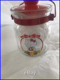 Hello Kitty Vintage Glass Jar with Lid and Handle