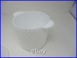 Hobnail Ice Bucket Cookie Jar White Milk Glass With Cover & Handles Nice Cond