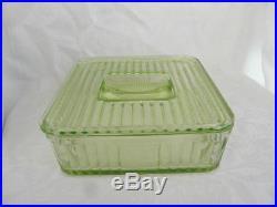 Hocking Uranium Vaseline Dep Glass 8×8 Square Cov Refrigerator Jar Indent Handle