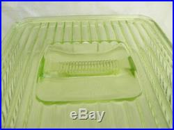Hocking Uranium Vaseline Dep Glass 8x8 Square Cov Refrigerator Jar Indent Handle