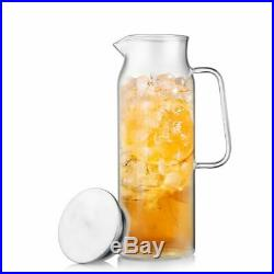Home Water Kettle Brief Heat Resistant Glass Hand Grip Stainless Steal Cover Jar
