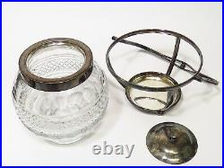 IFS Ltd English silver-plated Handled faceted cut glass round sweet biscuit Jar