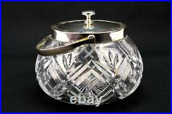 Ice Bucket in Cut Glass & Silver Plated 1930s Lid Handle Cookie Barrel Jar
