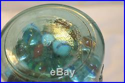 Ideal Blue Mason Jar Glass Lid Wire Handle 1908 #6 Quart with Vintage Marbles