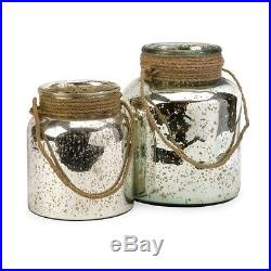 Imax Bretton Jar w- Jute Handle Set of 2 84750-2 Containers-Glass NEW