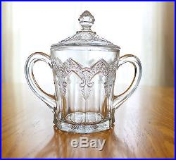Indiana Glass Gothic Windows Arches 2 Handled Sugar Covered Biscuit Jar Bowl