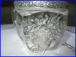 Intaglio Rose Glass Honey Pot Jam Jar Fancy Open Lace Silver Plate Handle & LID
