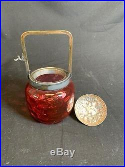 Inverted Cranberry Coin Dot Glass Handled Biscuit Jar With Lid