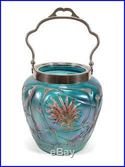 Iridescent Bohemian Art Nouveau Glass Handled Jar Abstract Flower Patterns Veins