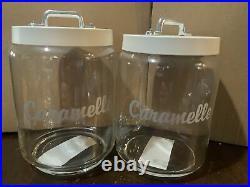 Italo Ottinetti Caramelle Glass Jar Painted Aluminum Lid Al Handle (set of 2)