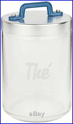 Italo Ottinetti Glass Jar Al Lid Painted Handle Blue 1 Litre Te, one size