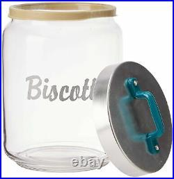 Italo Ottinetti Glass Jar Al Lid Painted Handle Green 2 Litre Bi, one size