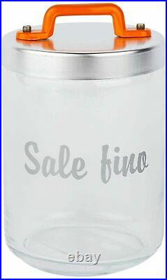 Italo Ottinetti Glass Jar Al Lid Painted Handle Orange 1 Litre Sf, one size