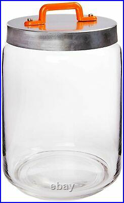 Italo Ottinetti Glass Jar Al Lid Painted Handle Orange 2 Litre, one size