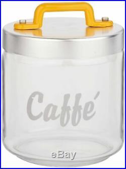 Italo Ottinetti Glass Jar Al Lid Painted Handle Yellow 0.75 Litre Ca, one size