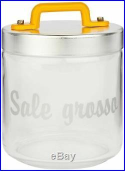 Italo Ottinetti Glass Jar Al Lid Painted Handle Yellow 0.75 Litre Sg, one size