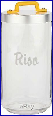 Italo Ottinetti Glass Jar Al Lid Painted Handle Yellow 1.5 Litre Ri, one size