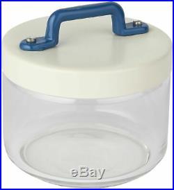 Italo Ottinetti Glass Jar Aluminium Lid Painted Handle Blue 0.5 Litre, one size