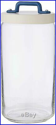 Italo Ottinetti Glass Jar Aluminium Lid Painted Handle Blue 1.5 Litre, one size