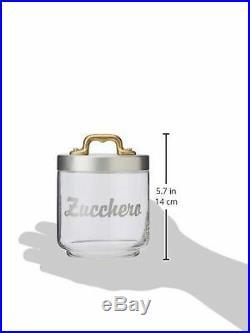 Italo Ottinetti Glass Jar Matte Finish Aluminium Lid Copper Handle 0.75 Litre