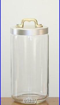 Italo Ottinetti Glass Jar Matte Finish Aluminium Lid Copper Handle 1.5
