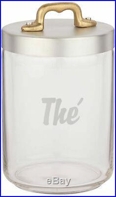 Italo Ottinetti Glass Jar Matte Finish Aluminium Lid Copper Handle 1 Litre Th