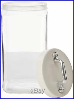 Italo Ottinetti Square Glass Jar Painted Lid Al Handle White 1.5 Litre, one s