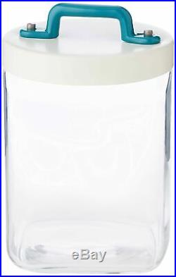 Italo Ottinetti Square Glass Jar White Lid Painted Handle Green 1 Litre, one