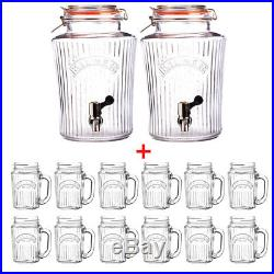 Kilner 2x 5L Vintage Water/Drink Dispenser with 12 Handled 400ml Mason Jar Glasses
