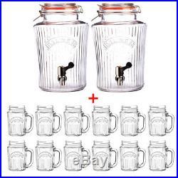 Kilner 2x 8L Vintage Water/Drink Dispenser with 12 Handled 400ml Mason Jar Glasses