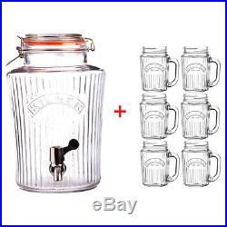 Kilner 8L Vintage Water/Drink Dispenser with 6 Handled 400ml Mason Jar Glasses
