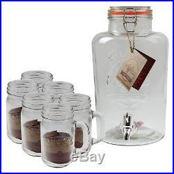 Kilner 8 Litre Beverages Drinks Dispenser And 6pc Clear Glass Handled Jar Set