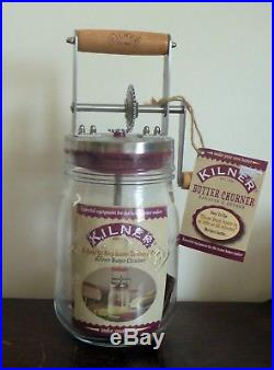 Kilner Butter Churner Glass Jar with Crank Handle Kitchen Tool 34 oz NEW