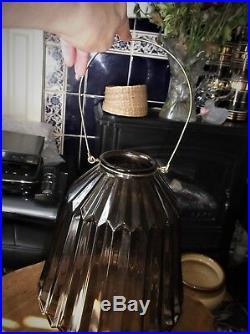Large 11 Ribbed Smoked Glass Lantern / Candle Holder Jar + Metal Swing Handle