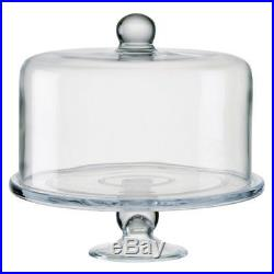 Large 28Cm Round Clear Glass Cake Stand With Dome Bell Jar Lid & Top Cover Handle