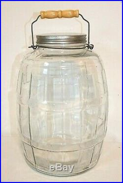 Large 3 Gallon GLASS PICKLE JAR with Lid & Bail Handle, Barrel Shape, 13 tall