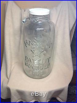 Large 5 Gallon Clear Glass Pickle Jar Mason's 1858 Star Eagle Bale Handle & LID