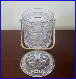 Large Imperial Glass Cape Cod Cookie Jar with Lid & Bamboo Handle